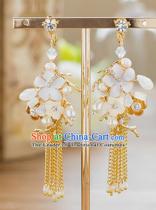 Handmade Classical Wedding Accessories Pearls Flowers Tassel Eardrop Bride Earrings for Women