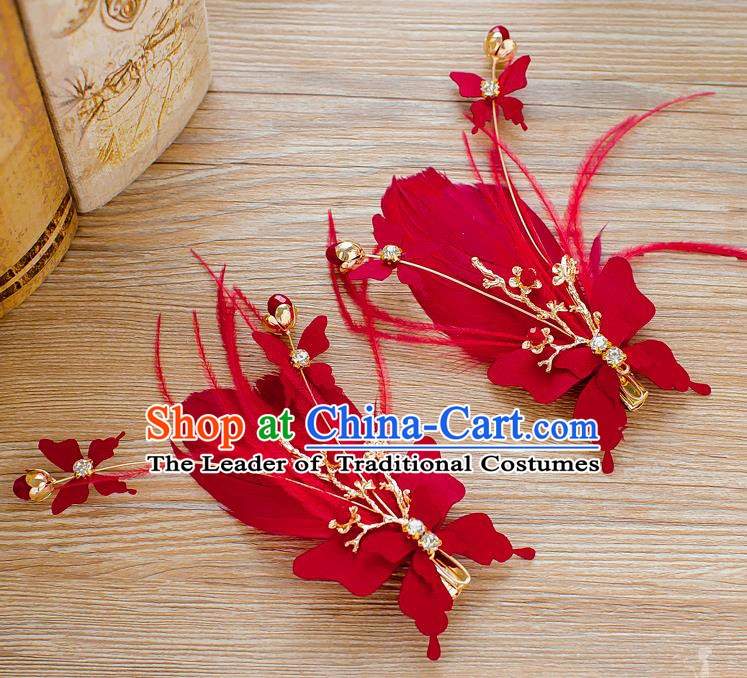 Handmade Classical Wedding Hair Accessories Bride Red Feather Hair Stick Headwear for Women