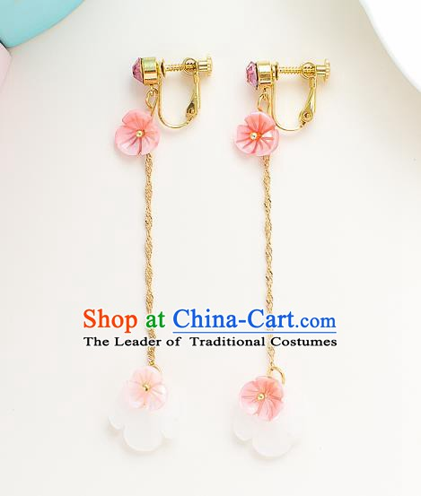 Handmade Classical Wedding Accessories Tassel Eardrop Bride Pink Shell Earrings for Women