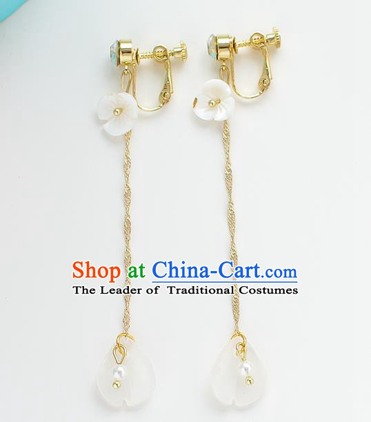 Handmade Classical Wedding Accessories Tassel Eardrop Bride White Shell Earrings for Women
