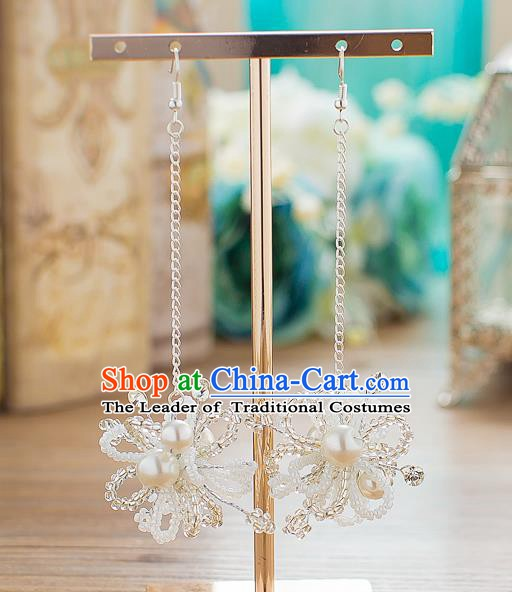 Handmade Classical Wedding Accessories Tassel Eardrop Bride Pearls Earrings for Women