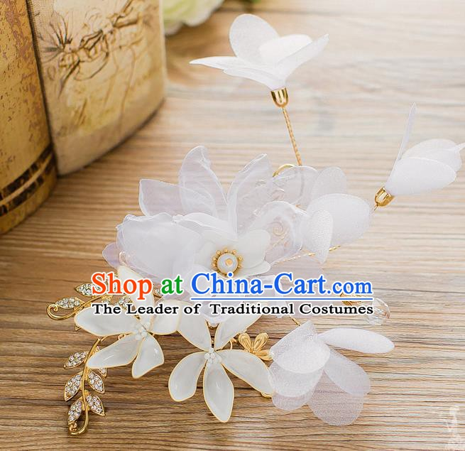 Handmade Classical Wedding Hair Accessories Bride Silk Flower Hair Stick Headwear for Women