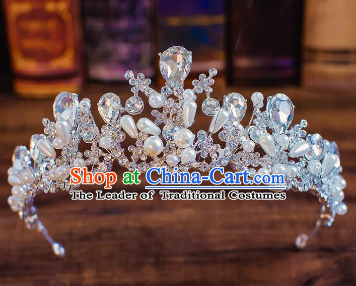Handmade Classical Wedding Hair Accessories Bride Baroque Crystal Royal Crown for Women