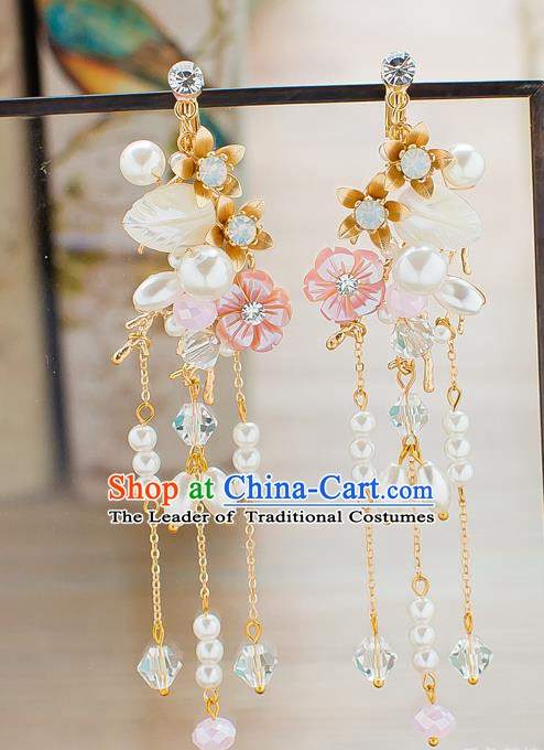 Handmade Classical Wedding Accessories Pearls Tassel Eardrop Bride Earrings for Women