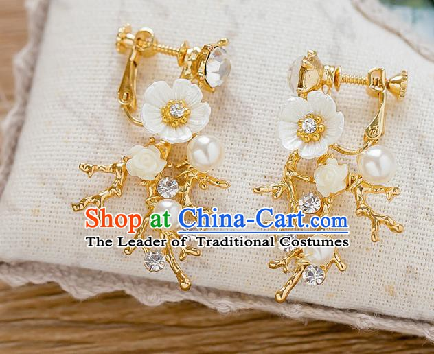Handmade Classical Wedding Accessories Pearls Flowers Eardrop Bride Earrings for Women