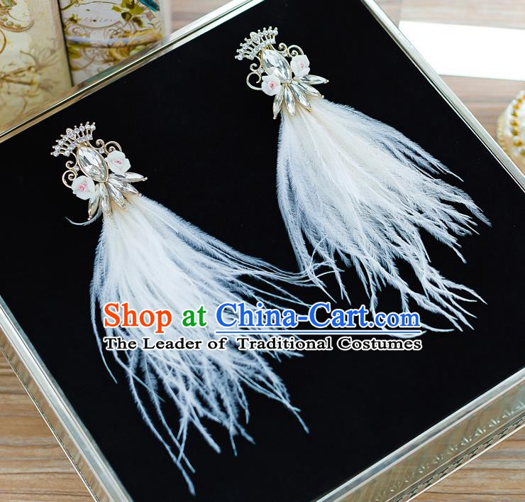 Handmade Classical Wedding Accessories Bride White Feather Earrings for Women