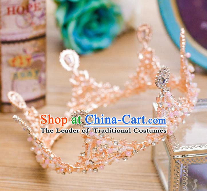 Handmade Classical Wedding Hair Accessories Bride Baroque Crystal Round Royal Crown for Women