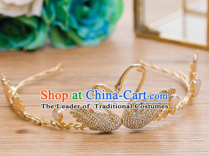 Handmade Classical Hair Accessories Bride Baroque Crystal Swan Royal Crown for Women