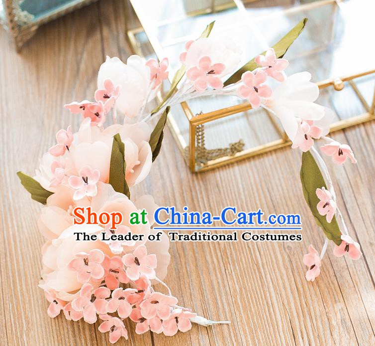 Handmade Classical Wedding Hair Accessories Bride Pink Flowers Hair Clasp Headwear for Women