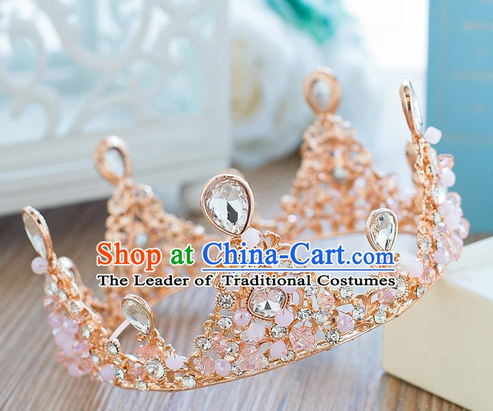 Handmade Classical Hair Accessories Bride Baroque Pink Beads Crystal Round Royal Crown for Women