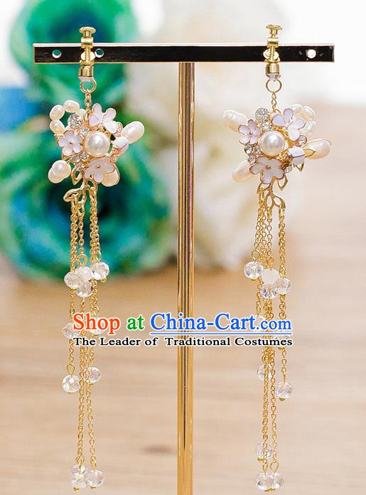 Handmade Classical Wedding Accessories Bride White Flowers Pearls Earrings for Women