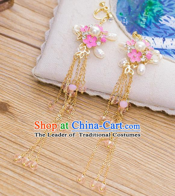 Handmade Classical Wedding Accessories Bride Pink Flowers Pearls Earrings for Women