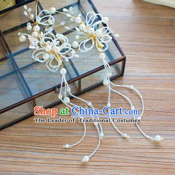 Handmade Classical Wedding Accessories Bride White Pearls Tassel Earrings Ear Pendant for Women