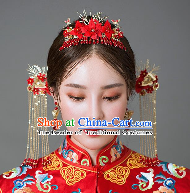 Chinese Handmade Classical Hair Accessories Ancient Palace Red Tassel Phoenix Coronet Hairpins for Women