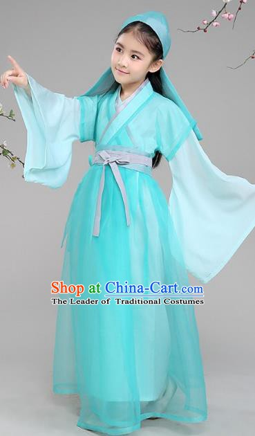 Traditional Chinese Ancient Livehand Costume Han Dynasty Scholar Clothing for Kids