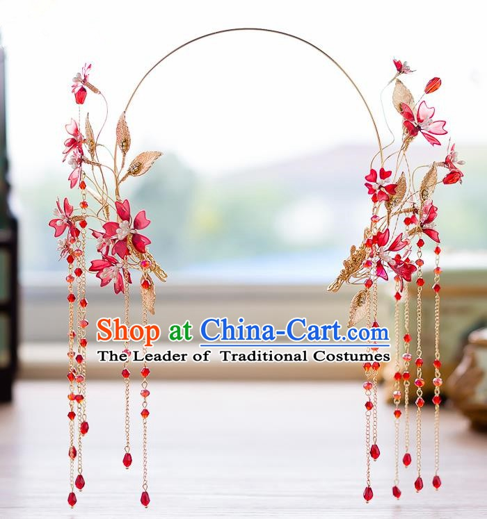 Handmade Classical Wedding Hair Accessories Bride Red Flowers Tassel Hair Clasp Headwear for Women