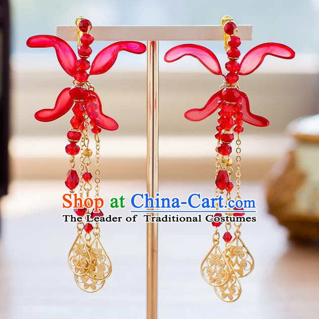 Handmade Classical Wedding Accessories Bride Red Tassel Earrings for Women