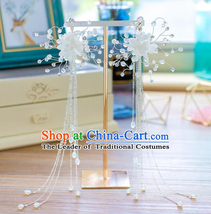 Handmade Classical Wedding Accessories Bride Tassel Ear Pendant Flowers Earrings for Women