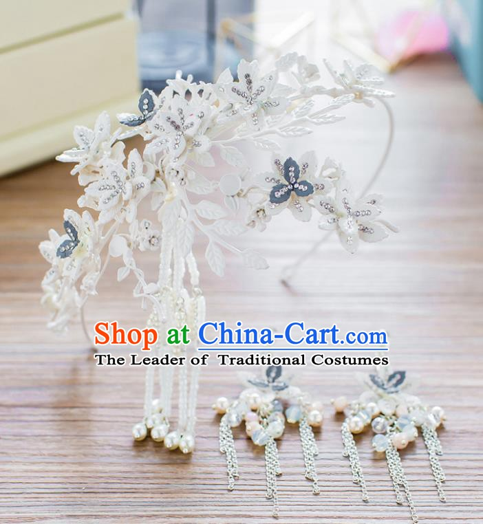 Handmade Classical Wedding Hair Accessories Bride Flowers Tassel Hair Clasp Headband for Women