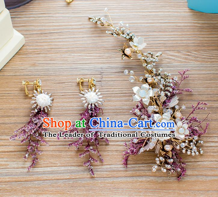 Handmade Classical Wedding Hair Accessories Bride Hair Stick and Earrings for Women
