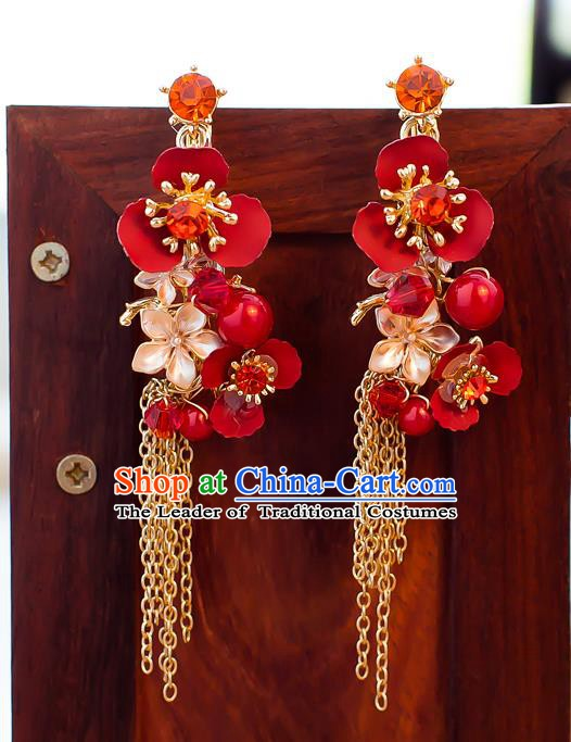 Handmade Classical Wedding Accessories Bride Tassel Red Flowers Earrings for Women