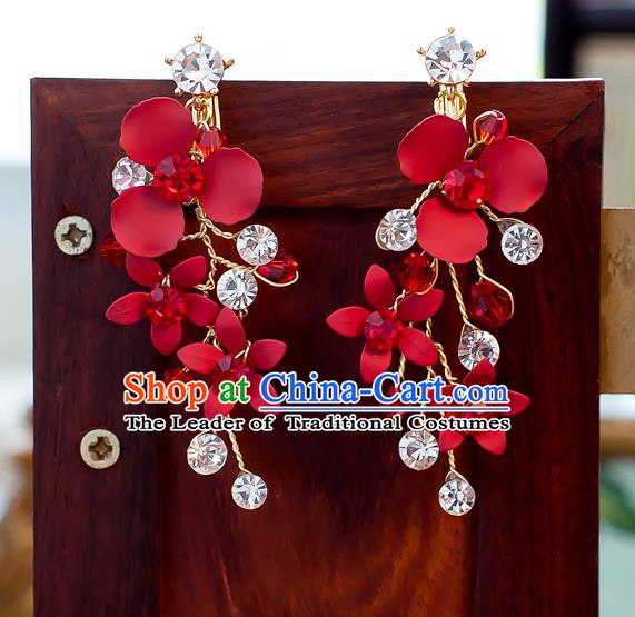 Handmade Classical Wedding Accessories Bride Tassel Red Flowers Crystal Earrings for Women