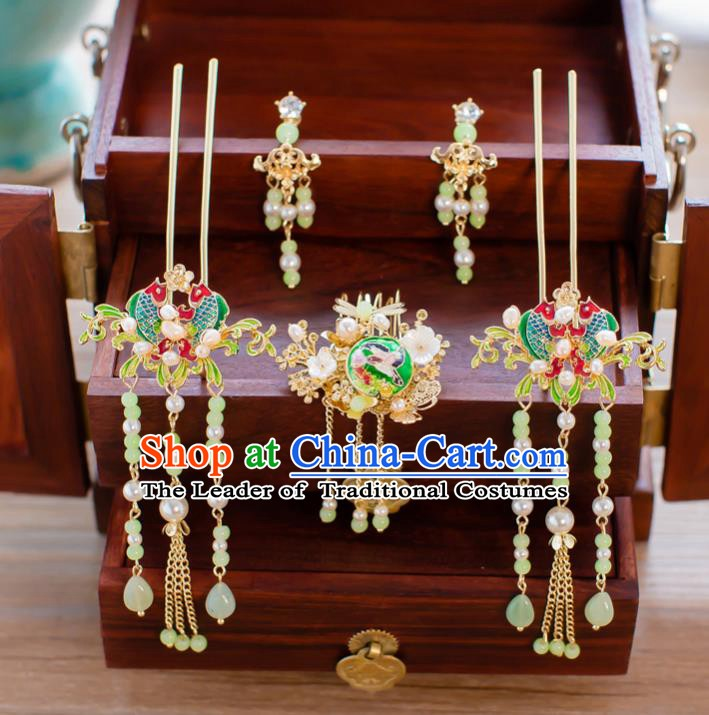 Chinese Handmade Classical Hair Accessories Ancient Tassel Double Fishes Hairpins Step Shake for Women
