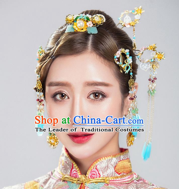 Chinese Handmade Classical Hair Accessories Ancient Blue Tassel Hairpins Step Shake for Women