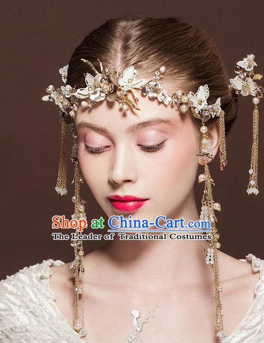 Chinese Handmade Classical Hair Accessories Ancient Tassel Hair Clasp Hairpins for Women
