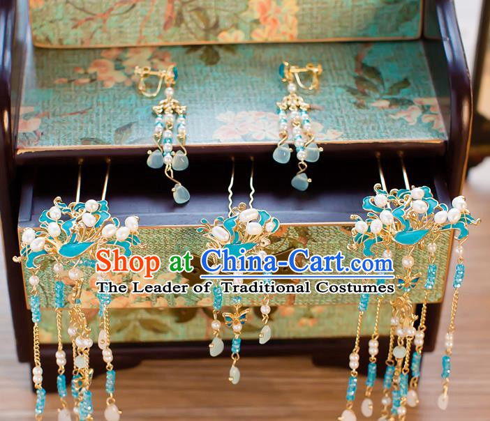 Chinese Handmade Classical Hair Accessories Ancient Hair Clip Blue Tassel Hairpins for Women
