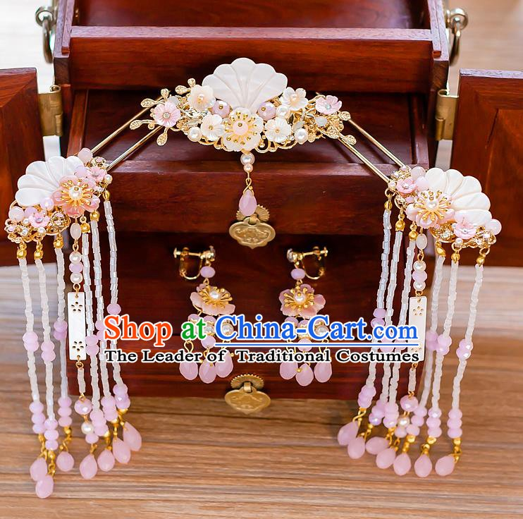 Chinese Handmade Classical Hair Accessories Ancient Hair Comb Shell Hair Clip Tassel Hairpins for Women