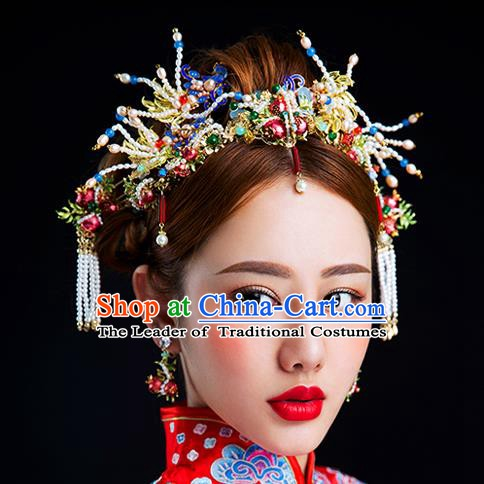 Chinese Handmade Classical Hair Accessories Ancient Bride Hair Clasp Tassel Hairpins for Women
