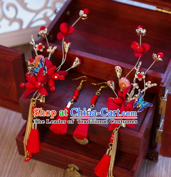Handmade Classical Wedding Accessories Bride Red Tassel Hair Stick and Earrings for Women