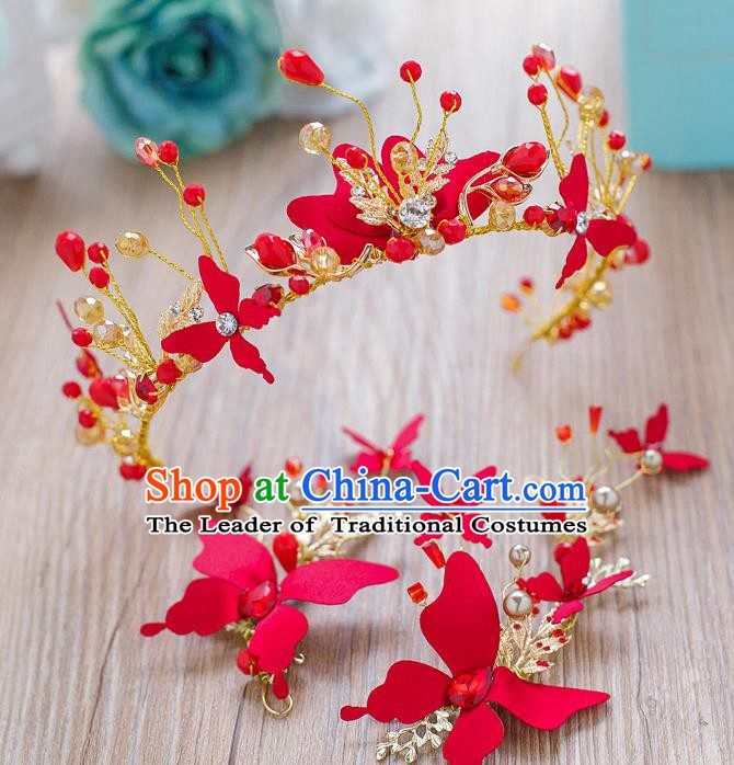 Handmade Classical Wedding Accessories Bride Red Butterfly Hair Crown and Earrings for Women