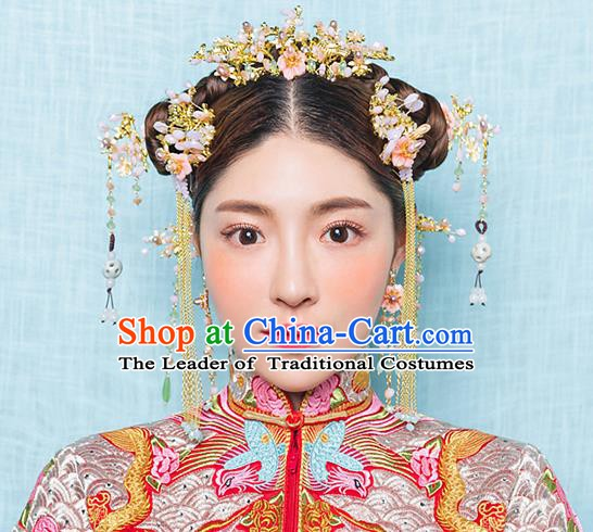 Chinese Handmade Classical Hair Accessories Ancient Bride Golden Hair Coronet Tassel Hairpins for Women