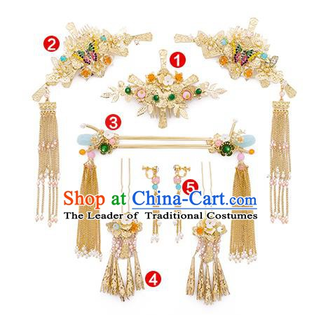Chinese Handmade Classical Hair Accessories Ancient Bride Hair Combs Tassel Hairpins for Women
