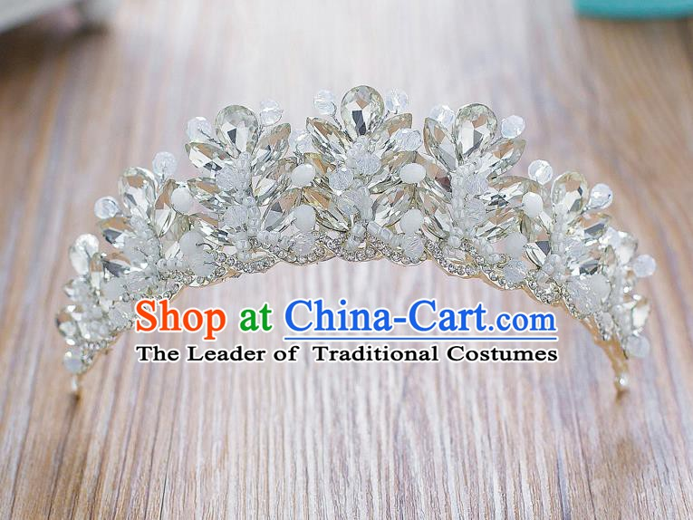 Handmade Classical Hair Accessories Baroque Crystal Royal Crown Headwear for Women