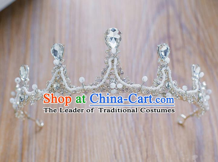 Handmade Classical Hair Accessories Baroque Crystal Royal Crown Hair Clasp Headwear for Women