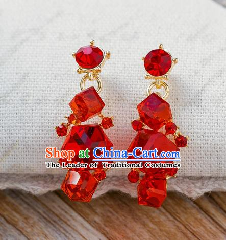 Handmade Classical Wedding Accessories Bride Red Crystal Earrings for Women
