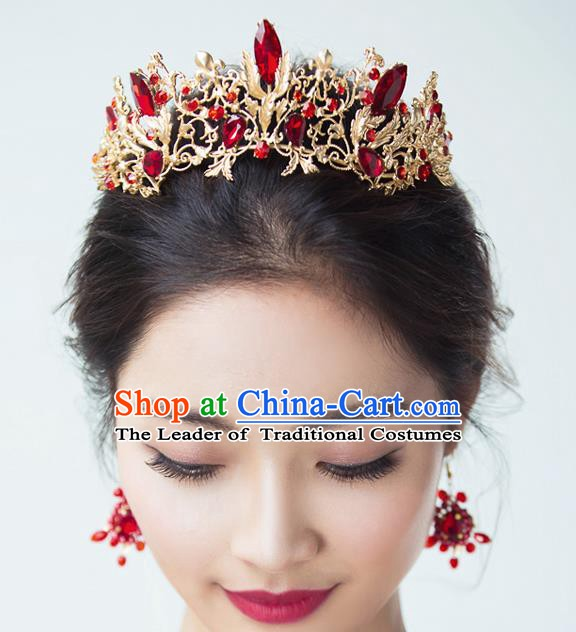 Handmade Classical Hair Accessories Baroque Luxury Red Crystal Hair Clasp Royal Crown Headwear for Women
