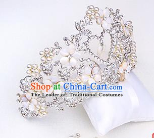 Handmade Classical Hair Accessories Baroque Luxury Crystal Pearls Royal Crown Headwear for Women