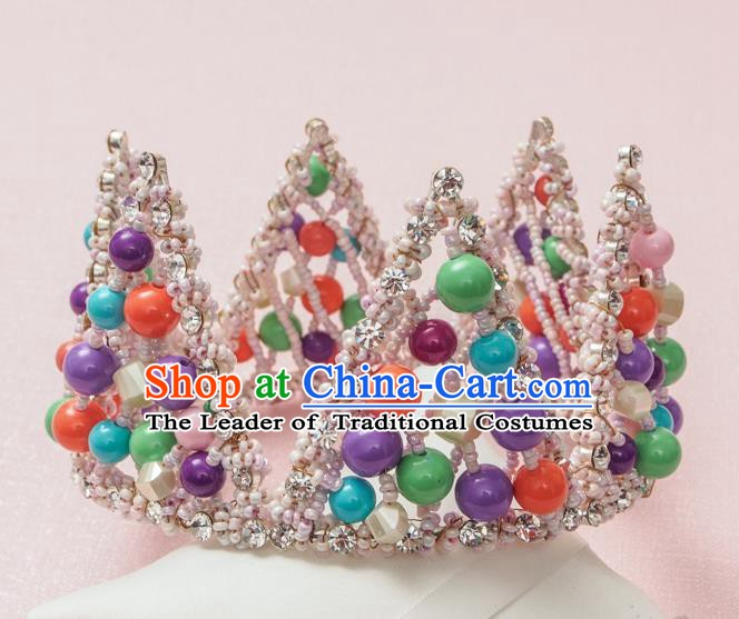 Handmade Classical Hair Accessories Baroque Colorful Beads Round Royal Crown Headwear for Women