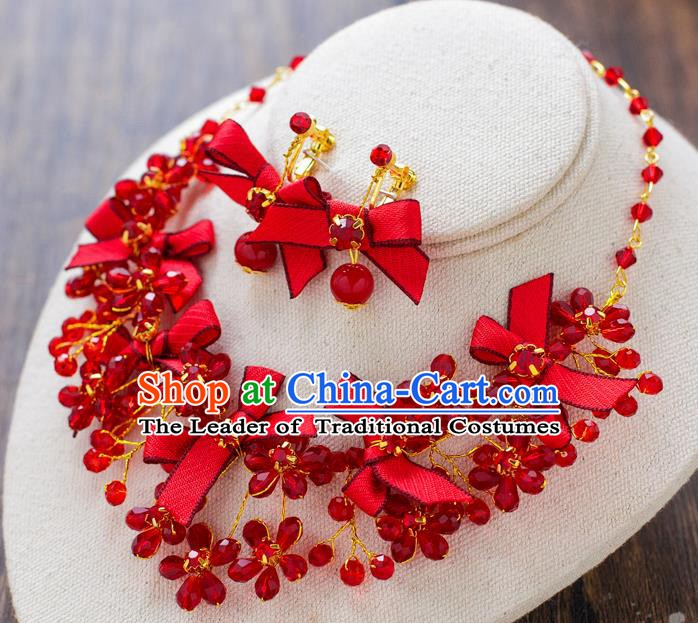 Handmade Classical Wedding Accessories Bride Red Bowknot Necklace and Earrings for Women