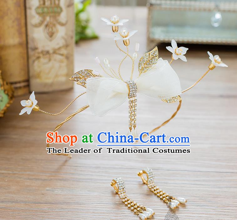 Handmade Classical Wedding Hair Accessories Bride Bowknot Hair Clasp Headwear for Women