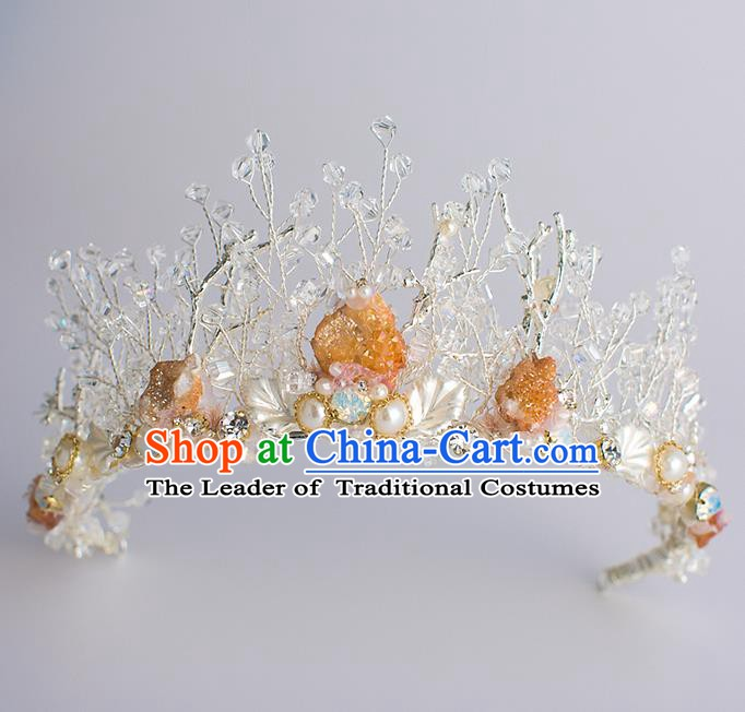 Handmade Classical Hair Accessories Baroque Bride Crystal Royal Crown Headwear for Women