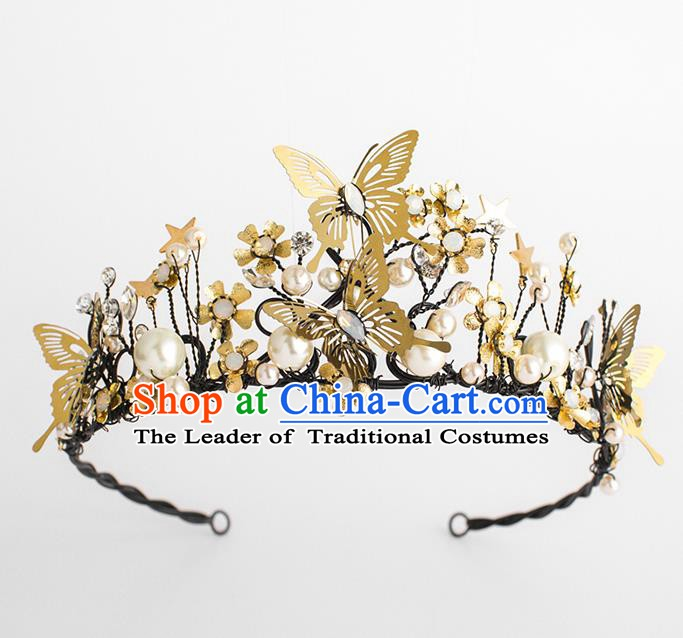 Handmade Classical Hair Accessories Baroque Bride Golden Butterfly Pearls Royal Crown Headwear for Women