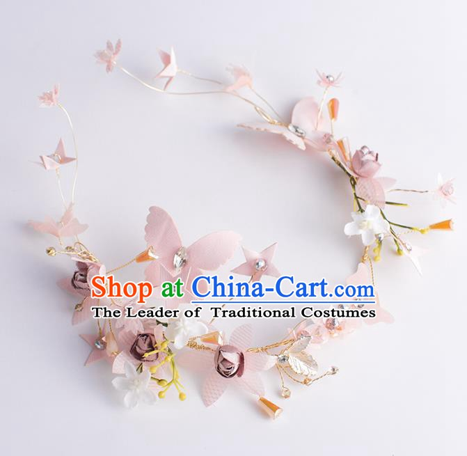 Handmade Classical Wedding Hair Accessories Bride Pink Hair Clasp Headwear for Women