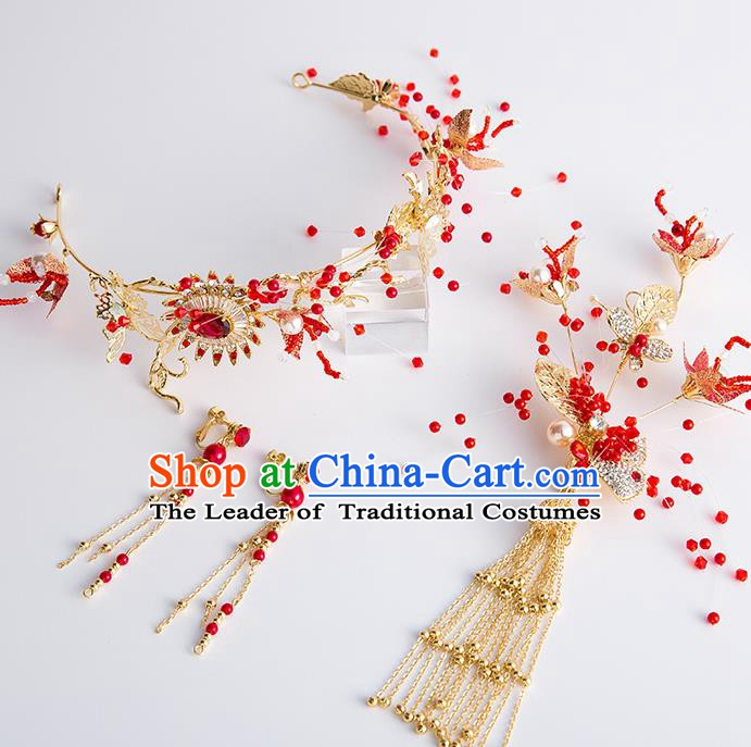 Handmade Classical Wedding Hair Accessories Bride Red Crystal Hair Clasp and Earrings Headwear for Women