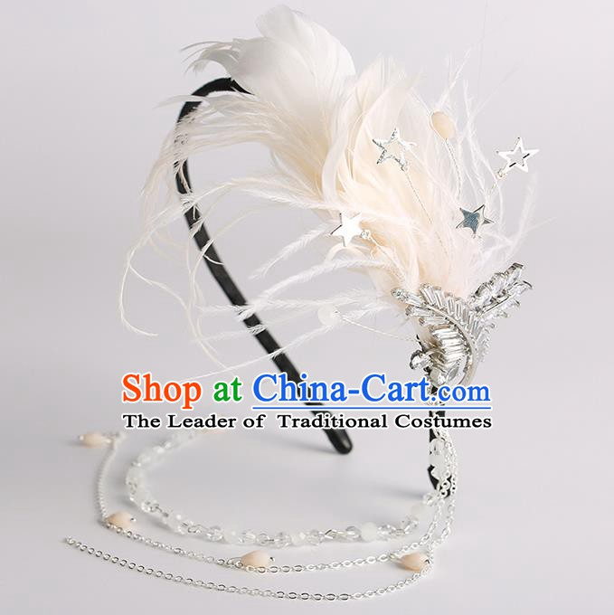 Handmade Classical Wedding Hair Accessories Bride White Feather Tassel Hair Clasp Headwear for Women