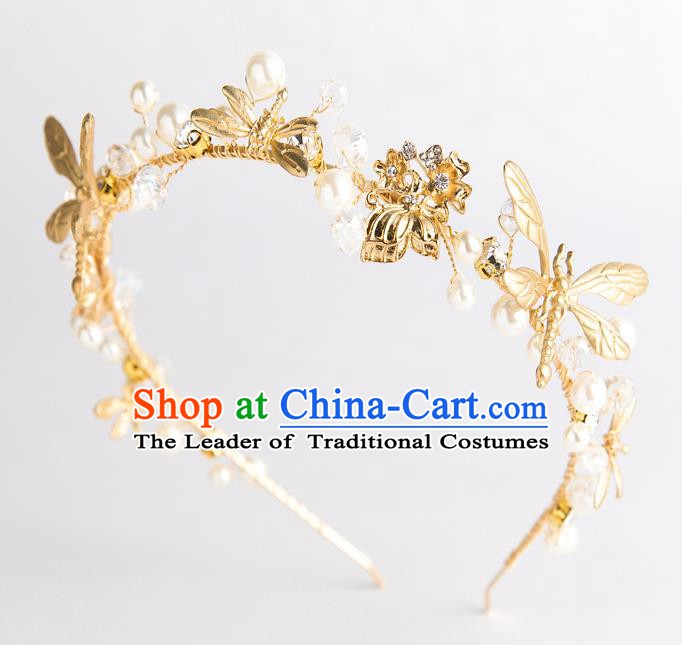 Handmade Classical Wedding Hair Accessories Bride Golden Dragonfly Hair Clasp Headwear for Women